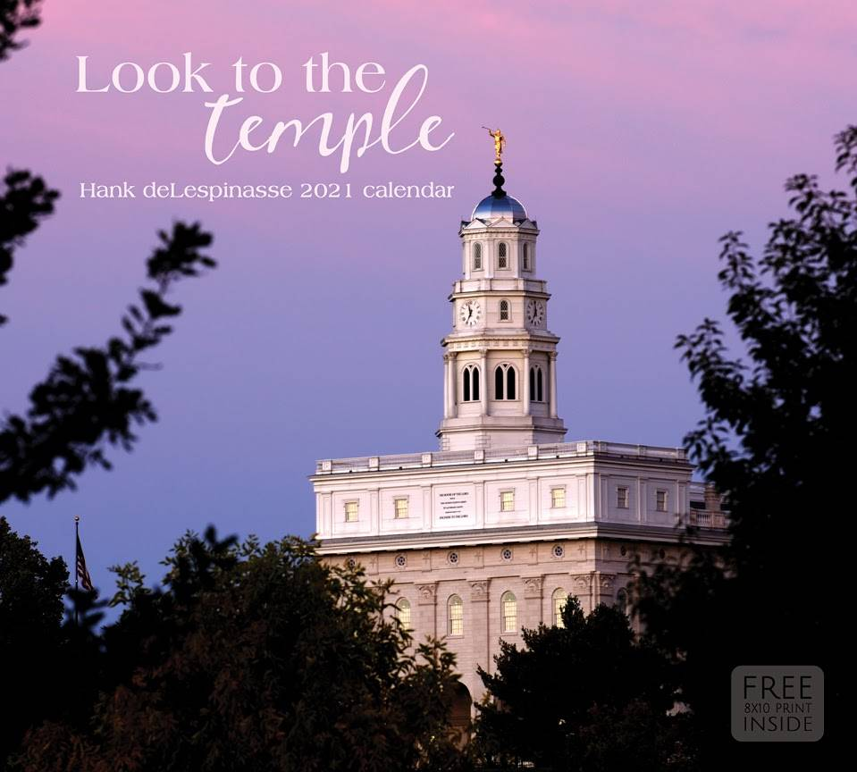 Hank deLespinasse's 2021 calendar cover. An evening scene of the Nauvoo Temple.
