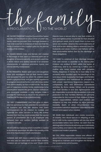 Poster of the The Family: A Proclamation to the World. The backdrop is a chalkboard.