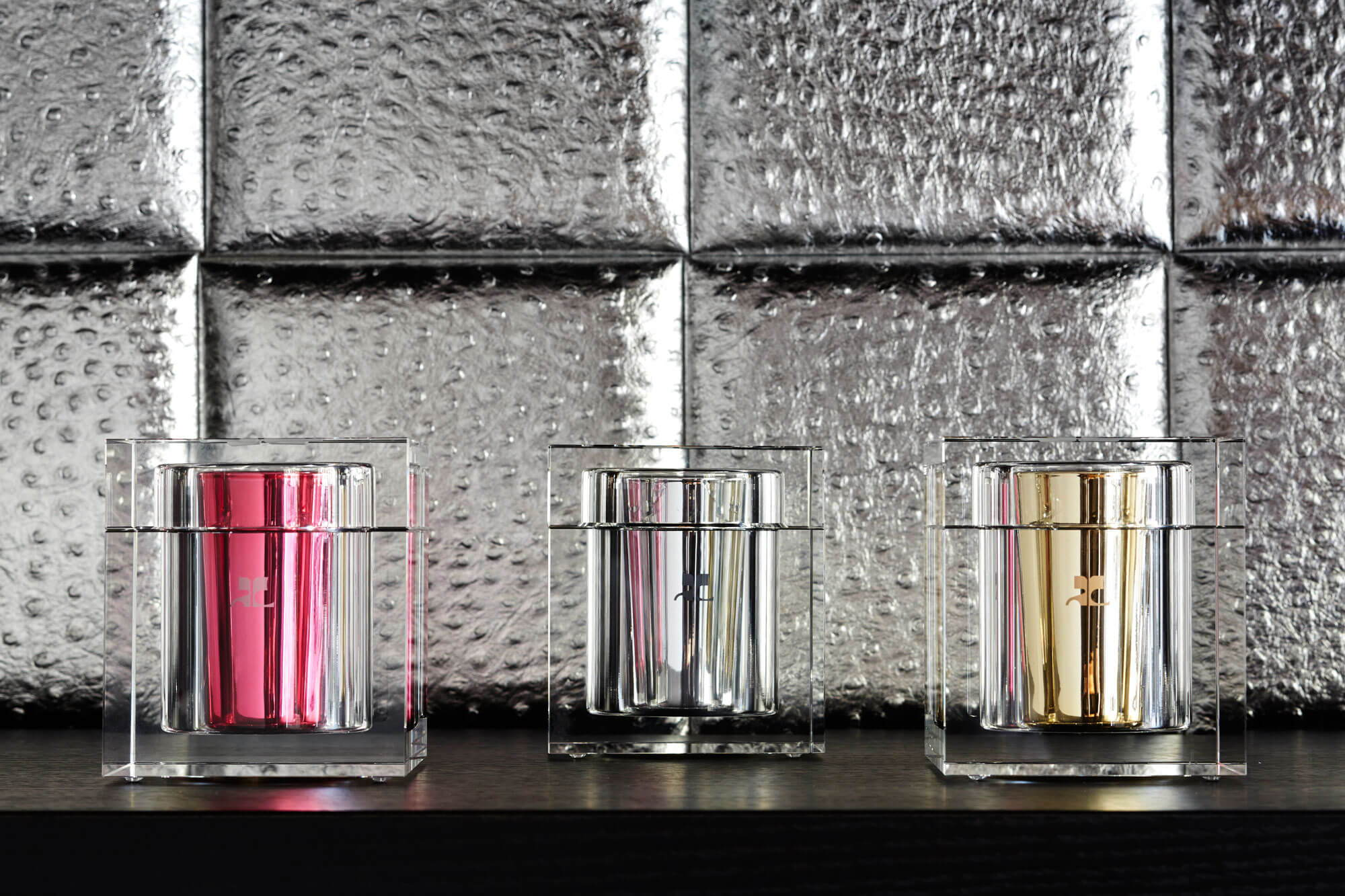limited edition cobranding courreges by Welton London, scented candles made in France, cubic design, unique pieces of crystals