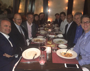 Marie Swift, rear left, organized a dinner that included the author Alexey Sokolin, pictured second from far end on right and Rich Cancro, his Vanare partner, on the middle left. Simon Roy and Deborah Fox are also among the diners.