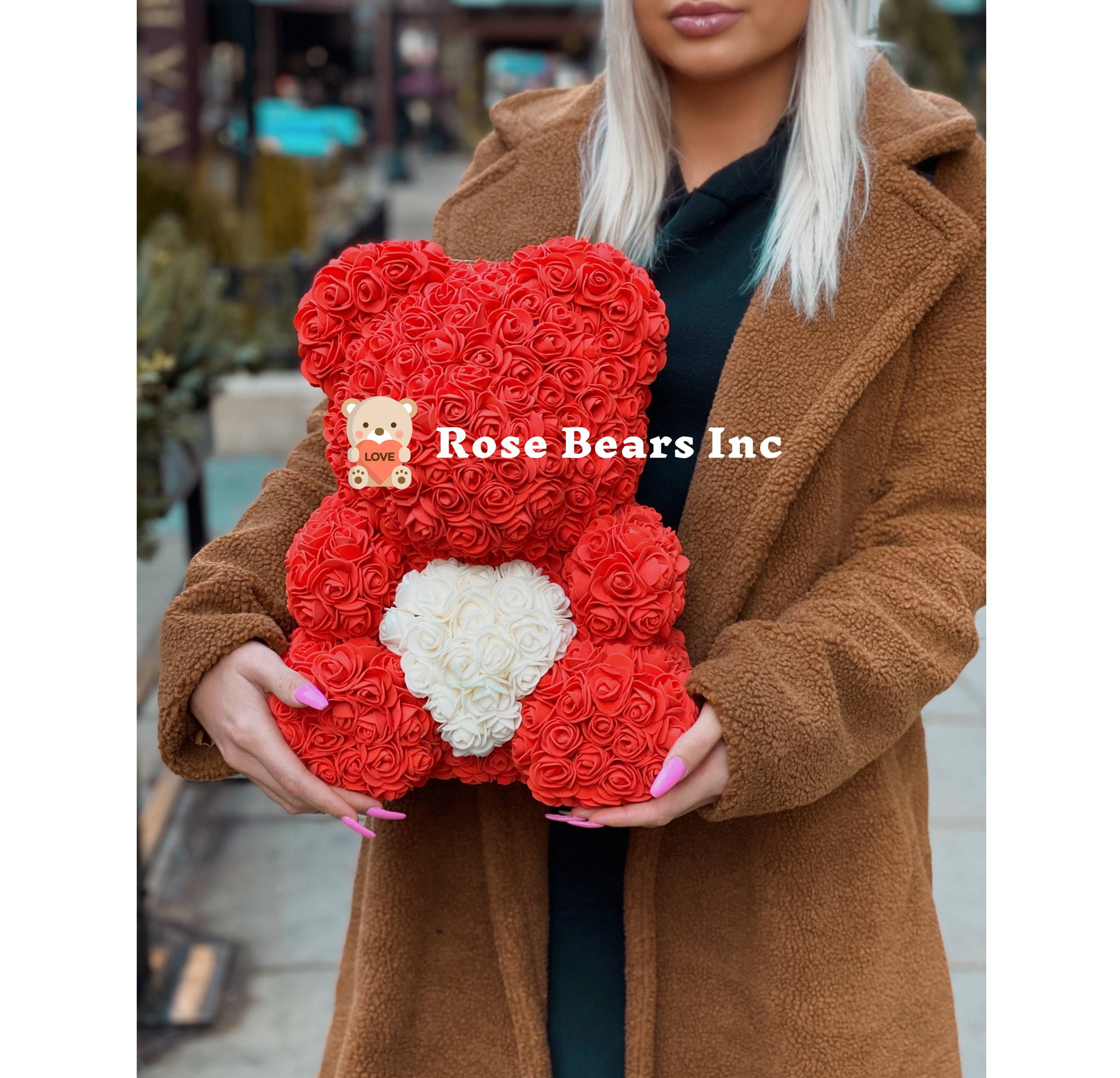 rose bears inc, red rose bear, rose bear with heart
