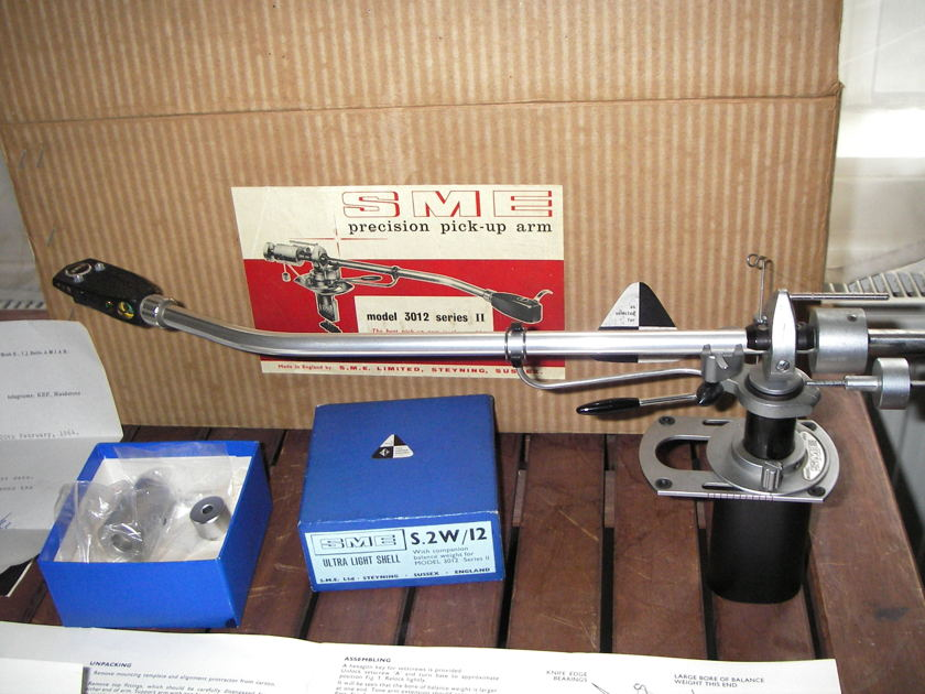 """SME Precision pick-up arm mint boxed  3012 series II 12"""" inches Tonearm SME Headshell, Leads & plugs + manuals"""