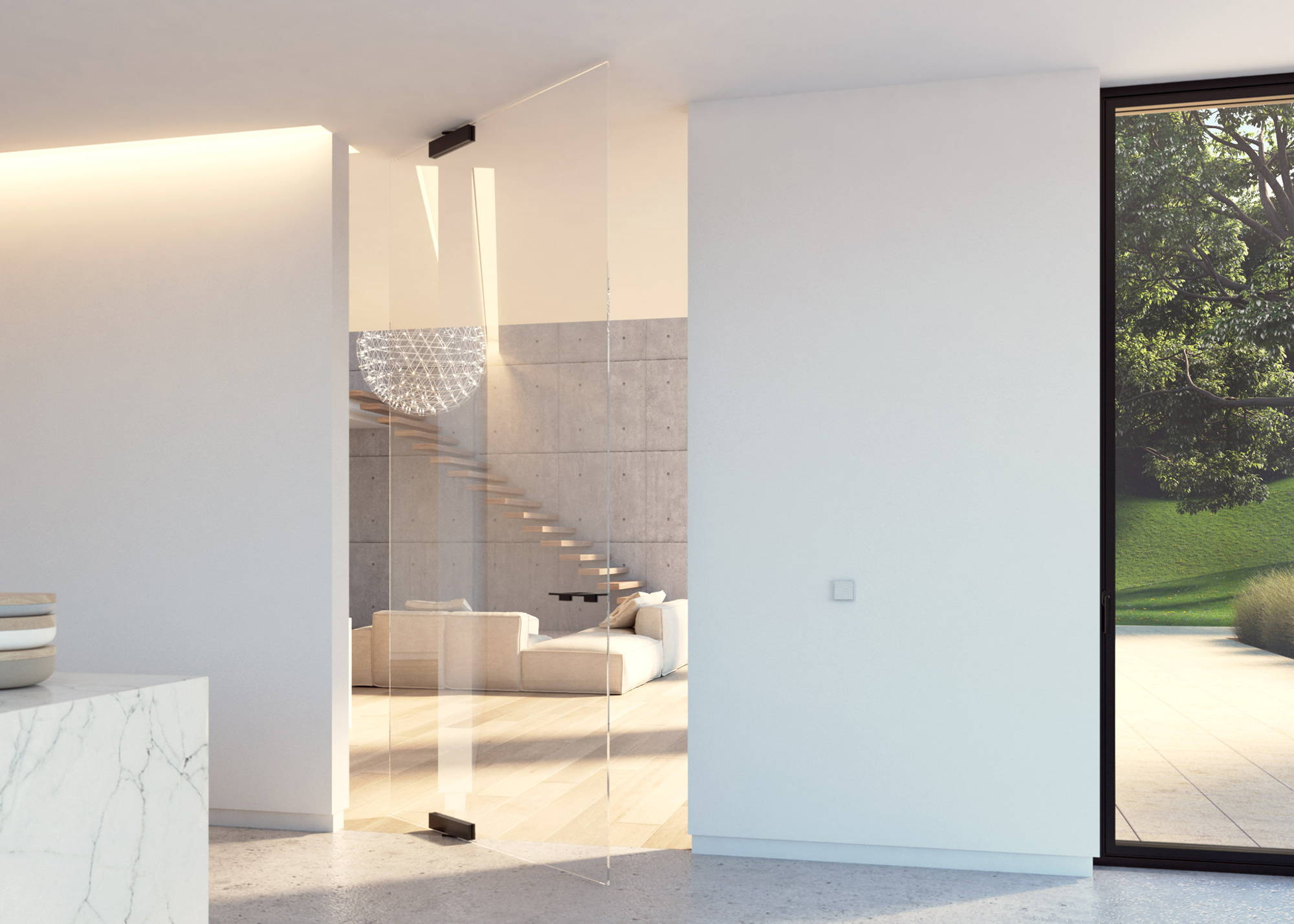 Glass pivot door with black glass patch fittings