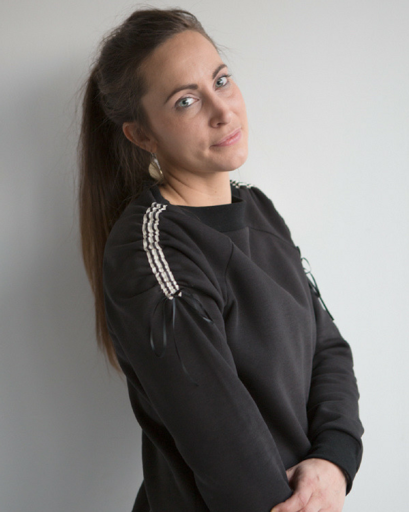 Sporty sweater Jackie in grijs en zwart