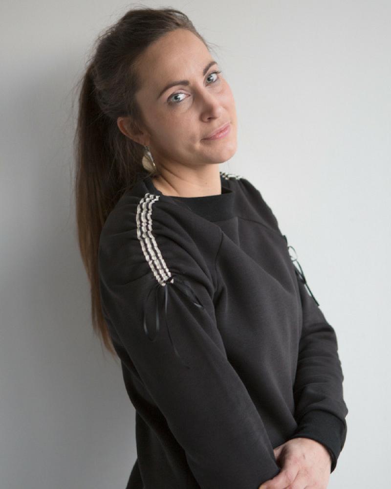 Sporty sweater Jackie in grijs en zwart