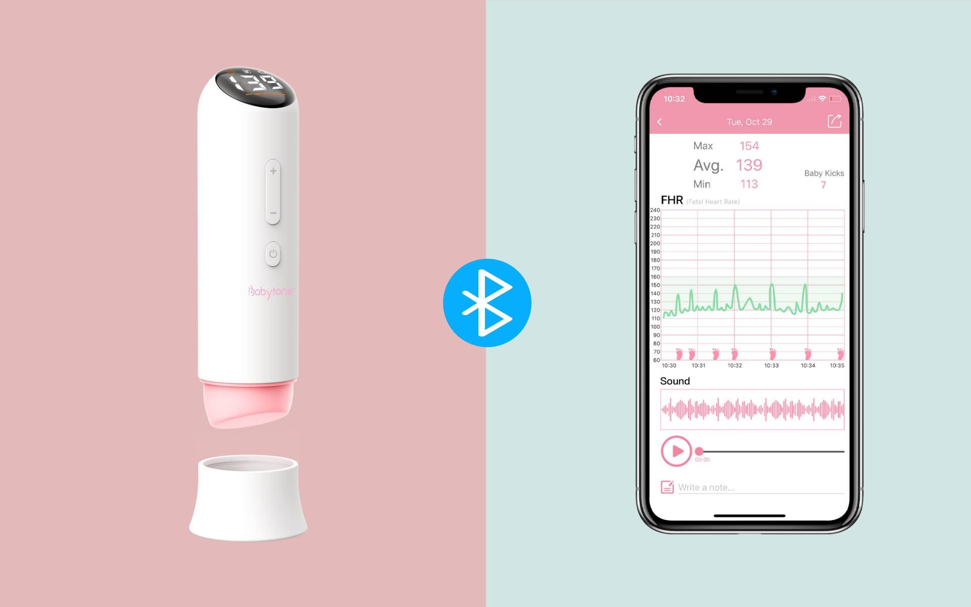 conecte el monitor cardíaco fetal a la aplicación a través de Bluetooth