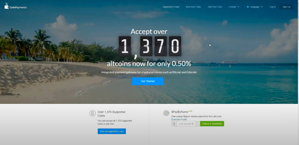 The main page of Coinpayments cryptocurrency payment gateway