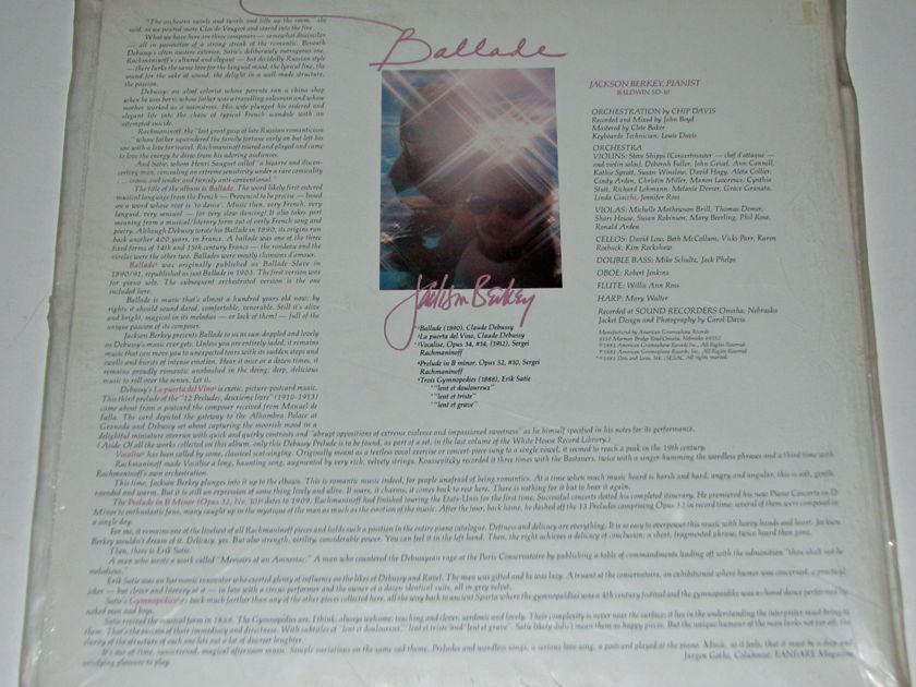 Jackson Berkey - Ballade Debussy Satie Rachmaninoff Sealed American Gramophone LP