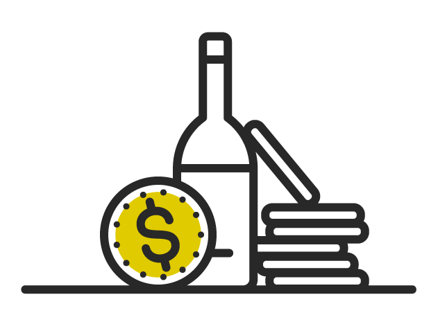 Icon of dollar coin and wine bottle debunking that good wine does not have to be expensive.