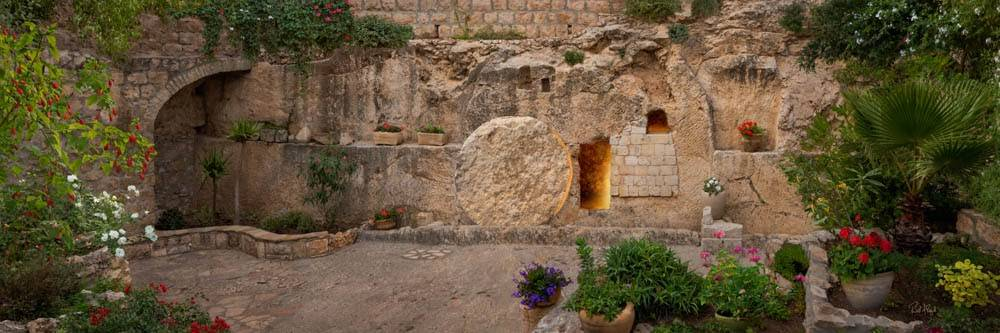 Resurrection art panoramic image of the garden tomb.