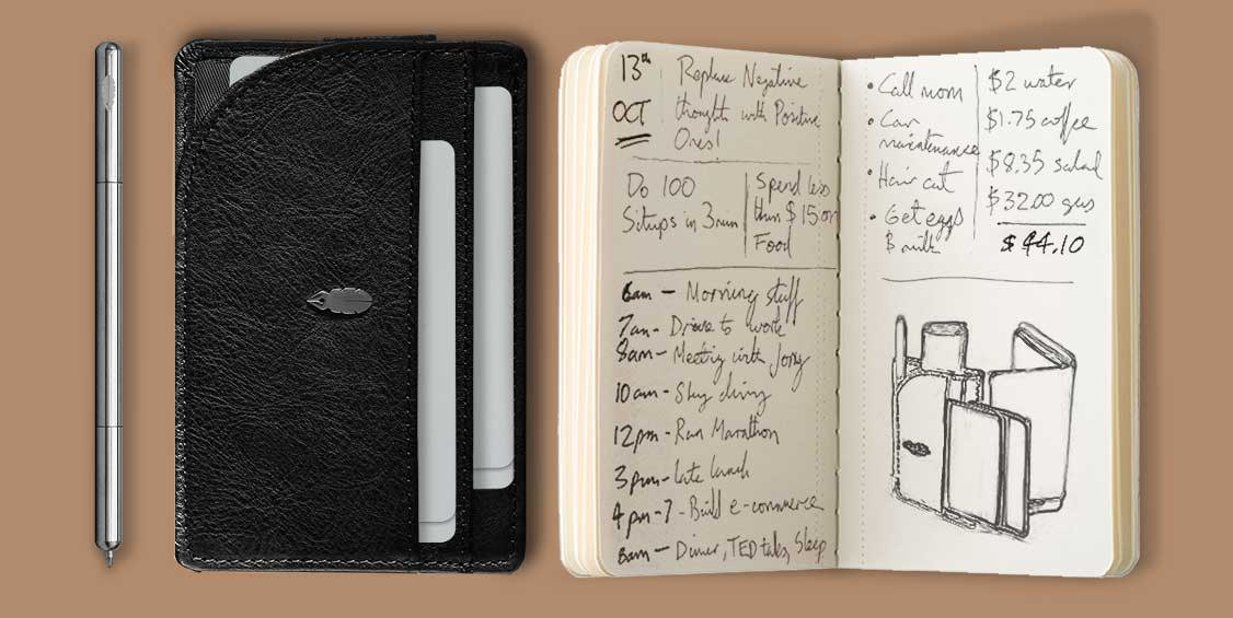 Pen Wallet and Journal with writing