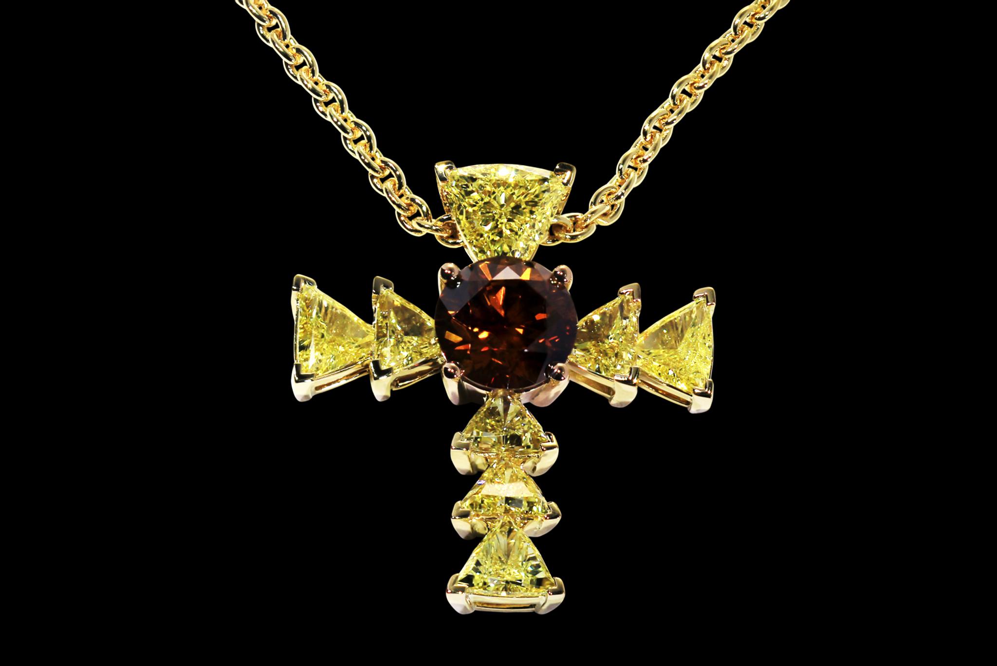 The Trinity Diamond Cross front view