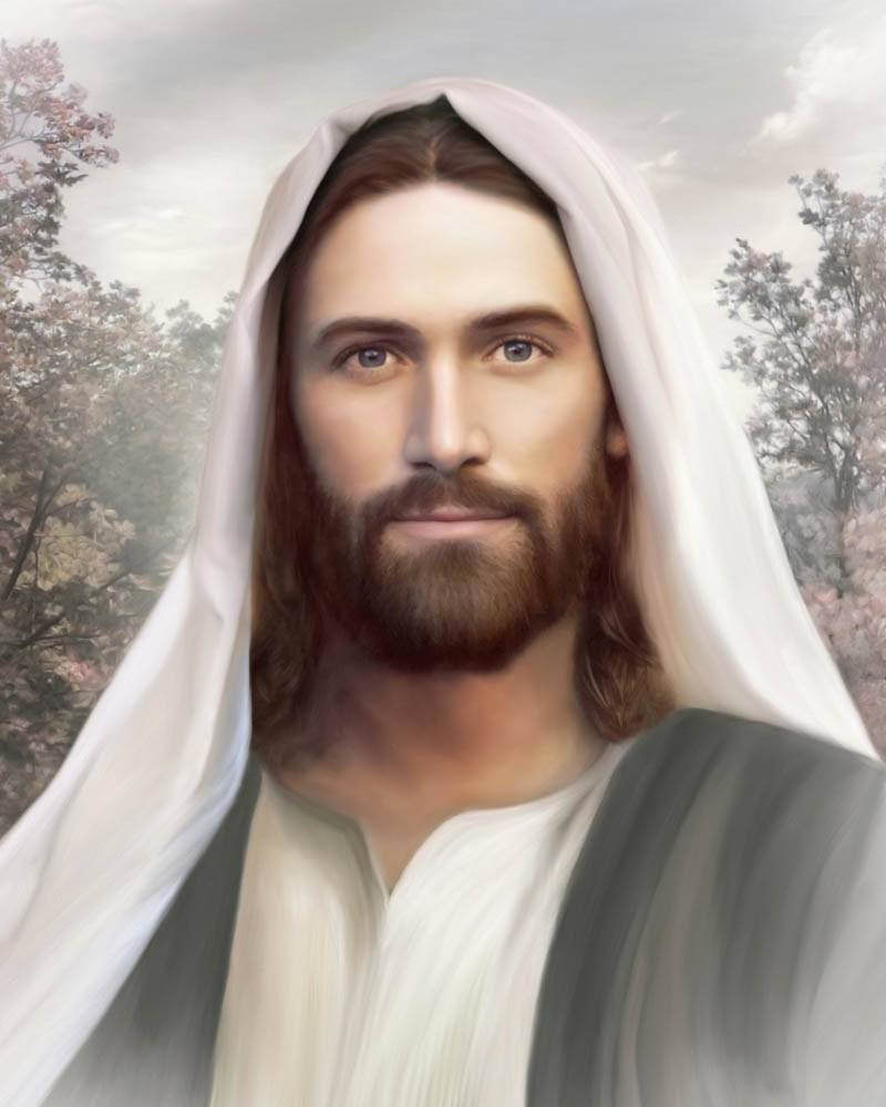 Peaceful portrait of Jesus Christ.