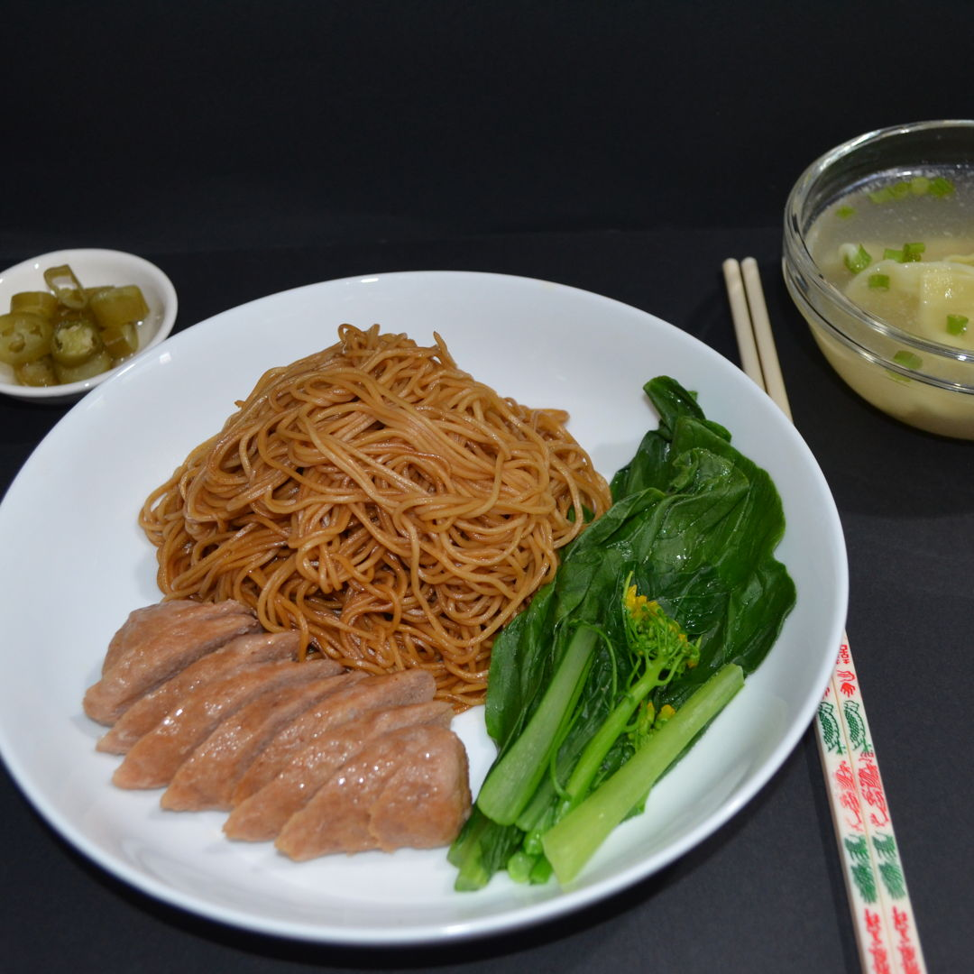 Date: 7 Feb 2020 (Fri) 3rd Meal Set: Wonton Noodles with Wonton Soup and Pickled Chillies [211] [142.0%] [Score: 8.0] Cuisine: Malaysian Dish Type: Main Fried wonton noodles served with wonton soup and pickled green chillies.
