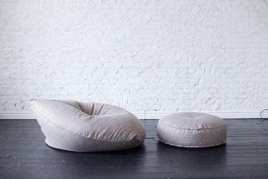 Бескаркасное кресло-лежак Drop (Капля) в рогожке