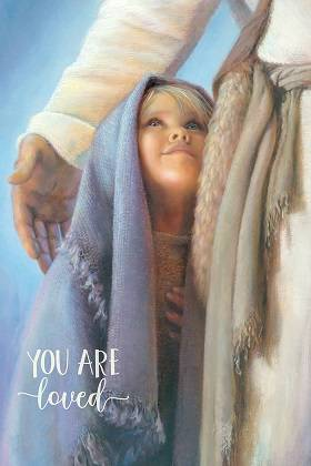 LDS art poster of a child standing next to Jesus and looking up at him.