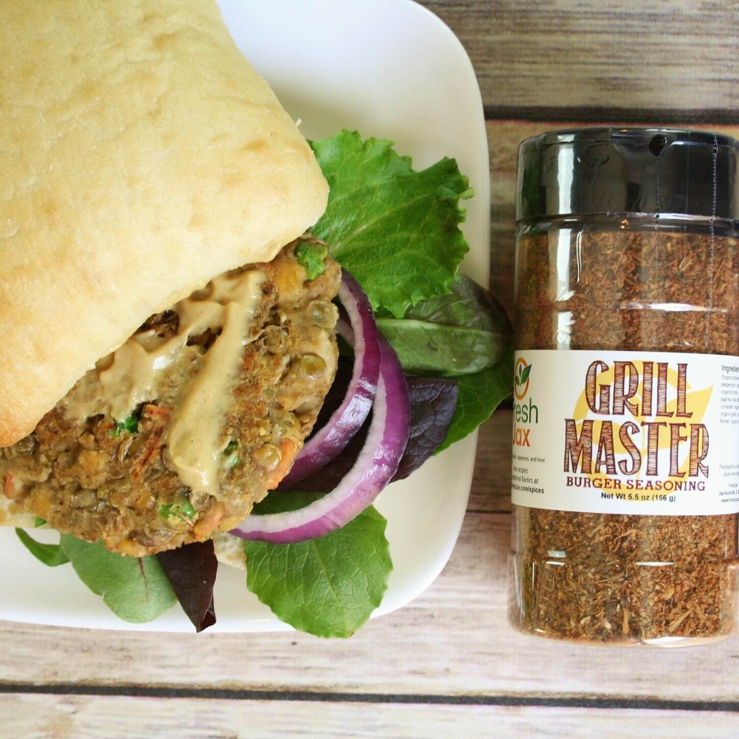 Lentil and chickpea burger recipe with FreshJax Organic Grill Master Burger Blend.