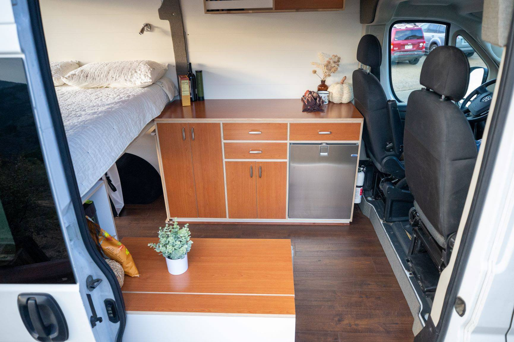 The Bivy - Sprinter 144 / ProMaster 136 Conversion Van Kitchen with Cabinets, Galley and Refrigerator - The Vansmith