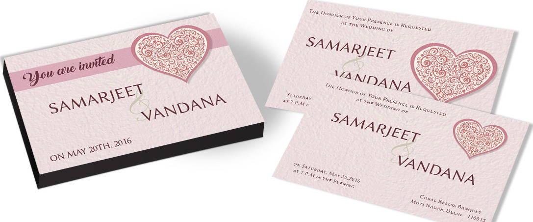 Wedding Invitations Hearts Theme