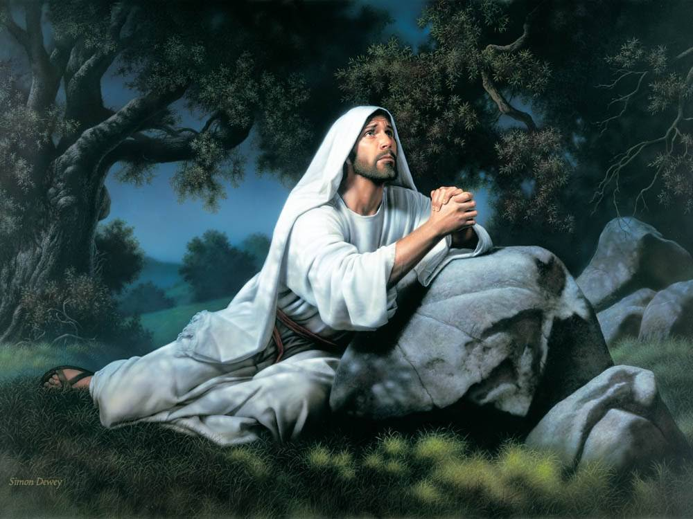 LDS art painting of Jesus resting on a stone as He prays in Gethsemane.