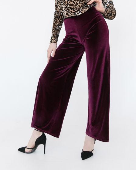 Бордовые бархатные брюки
