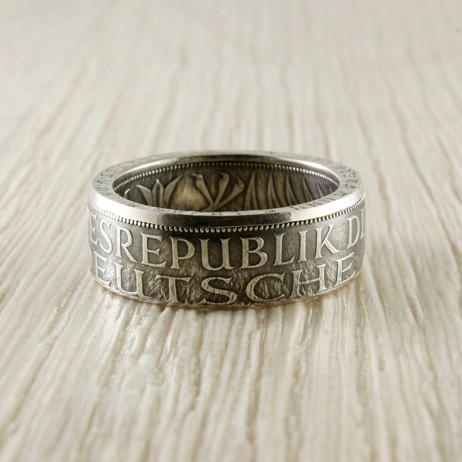 Кольцо из монеты (Германия) 1963-1974, серебро