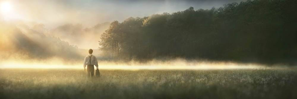 Panoramic LDS art image of Joseph Smith crossing a field toward the Sacred Grove to pray.