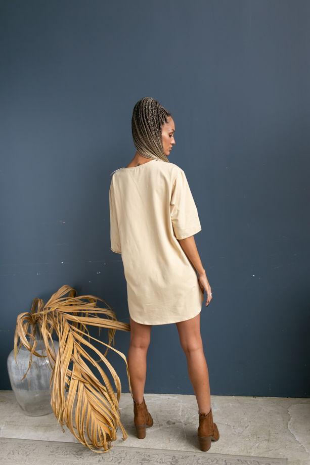 Платье-футболка бананового цвета из хлопка