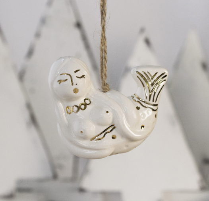 Керамическая ёлочная игрушка ручной работы - РУСАЛОЧКА. Золотая коллекция TAVOLGA.