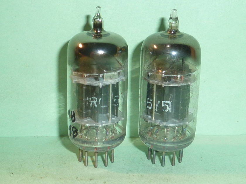 RCA  5751 12AX7 ECC83 Triple Mica Black Plate Tubes, Matched Pair, Tested -1956