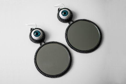 Зеркальные серьги с глазами, обшитые бисером -  Eyed Mirrors