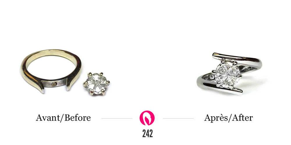 Bague solitaire avec centre de six diamants en forme de goutte transformé en bague plus moderne