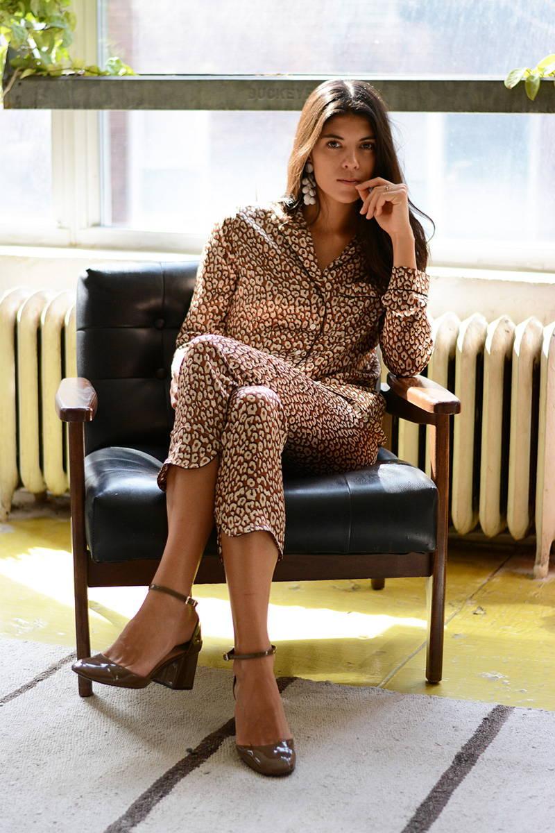 Neada Jane in YOLKE Leopard Print Silk Pyjamas