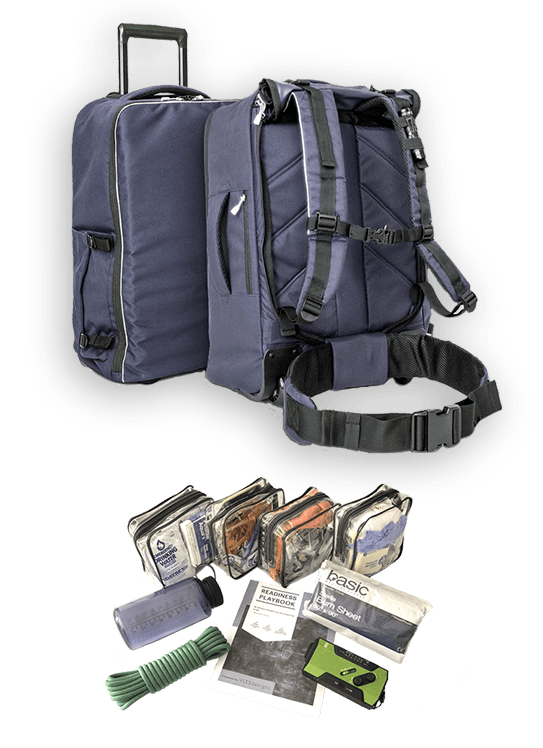 Fully stocked go bag with supplies shown and readiness playbook