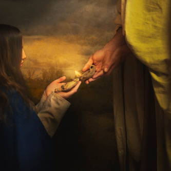 A young woman holds out a lamp for Jesus to light it with His own lamp.