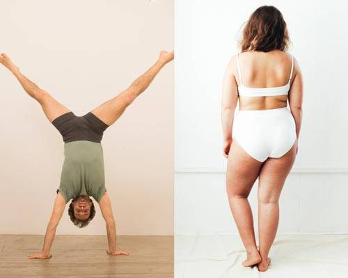 Man doing the splits upside down wearing Pico organic cotton boxers and woman standing wearing high-rise briefs and bra in white