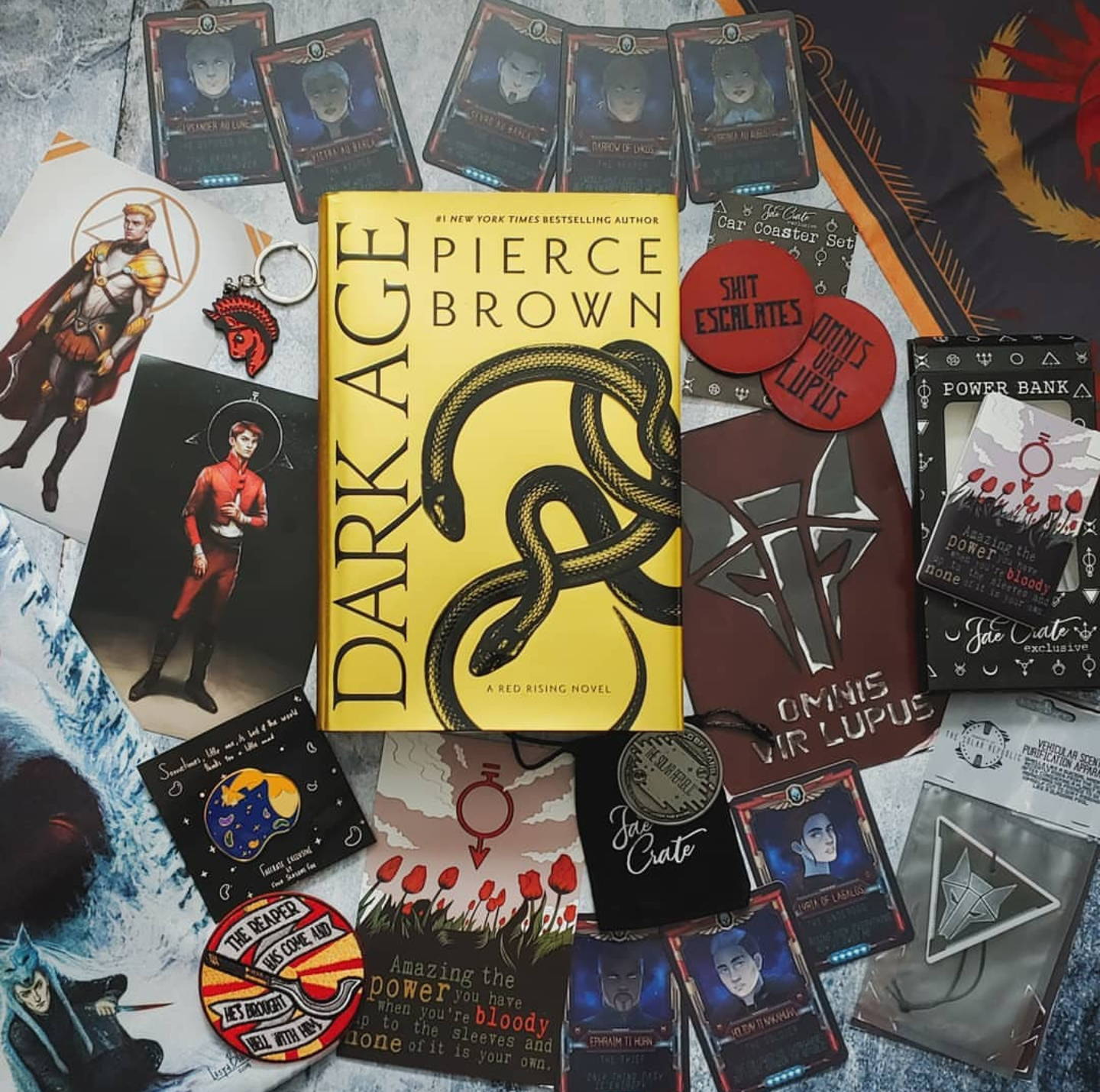 Dark Age Hangover Box includes Dark Age Hardcover by Pierce Brown, Unicorn Ares Enamel Keychain, Sophocles Enamel Pin, Character Cards, Collector's Coin, Howler's Air Freshener, Scythe Iron-On Patch, Satin Booksleeve, Car Coaster Set, Power Bank, and  red Darrow & Gold Darrow Book Stickers.