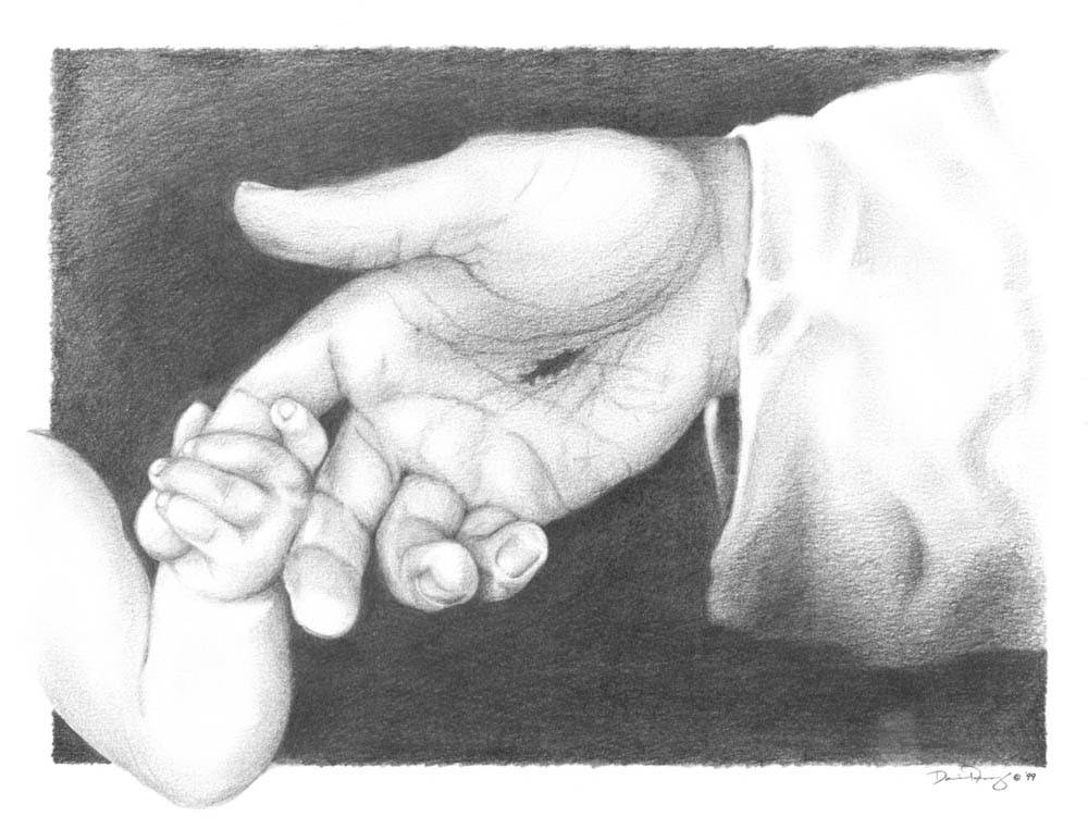 Charcoal drawing of an infant holding Jesus' finger.