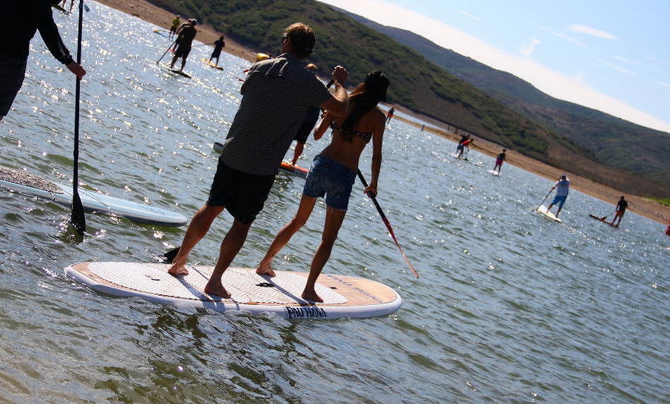Duo tandem pau hana stand up paddle board together