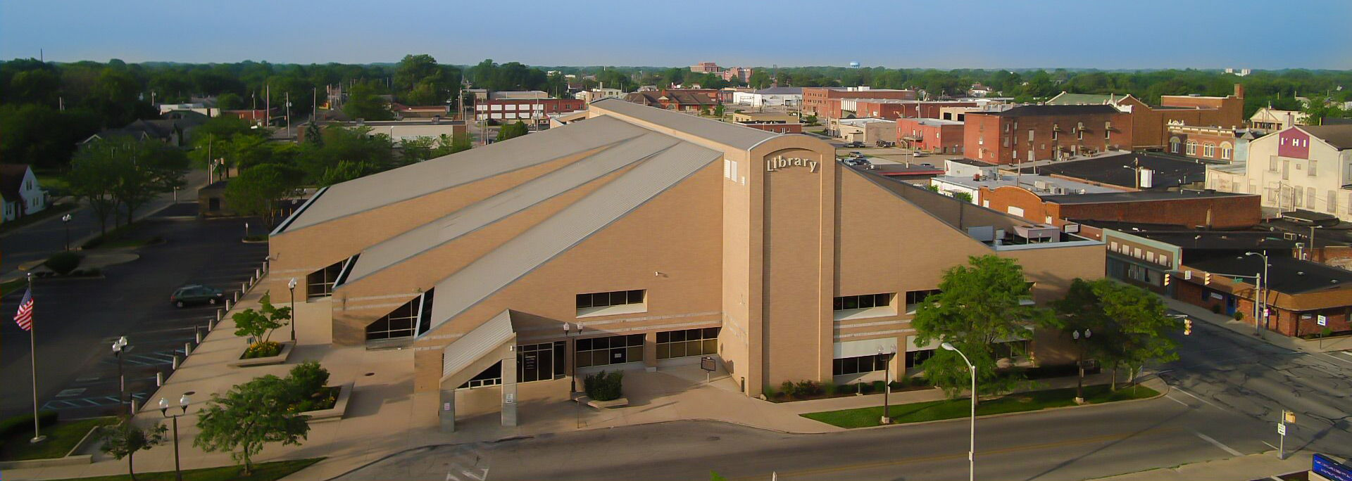 Aerial view of Main Library