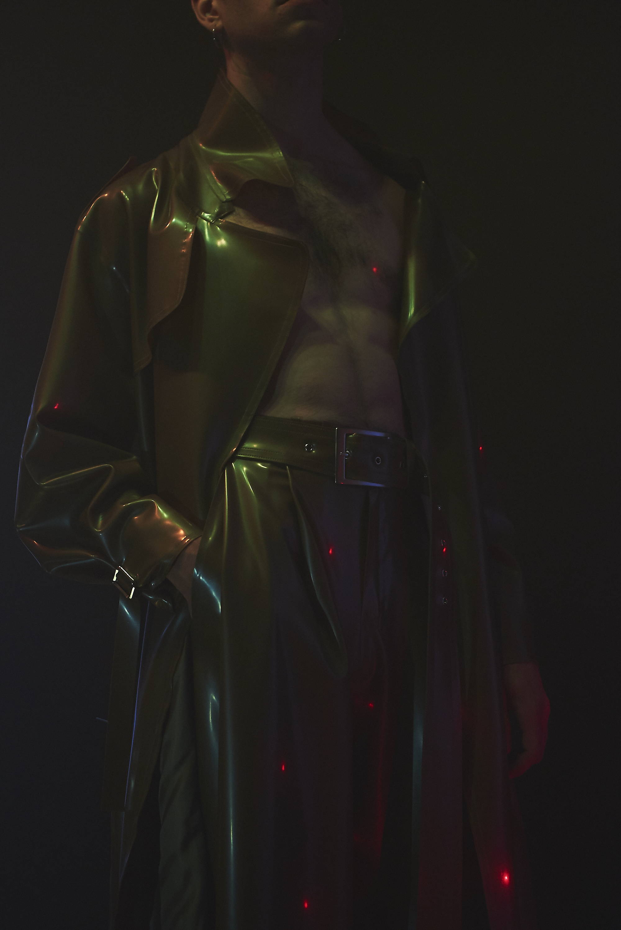 latex trench and flared trouser by arthur avellano for h lorenzo spring summer 17
