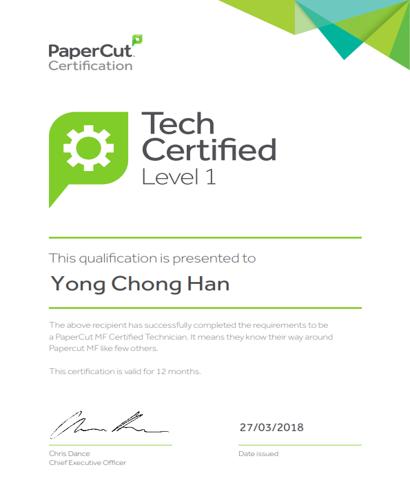 Papercut certification for Yong Chong Han