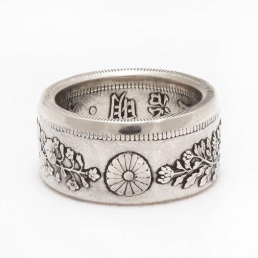 Кольцо из монеты - Япония 50 сен. Цветочная версия