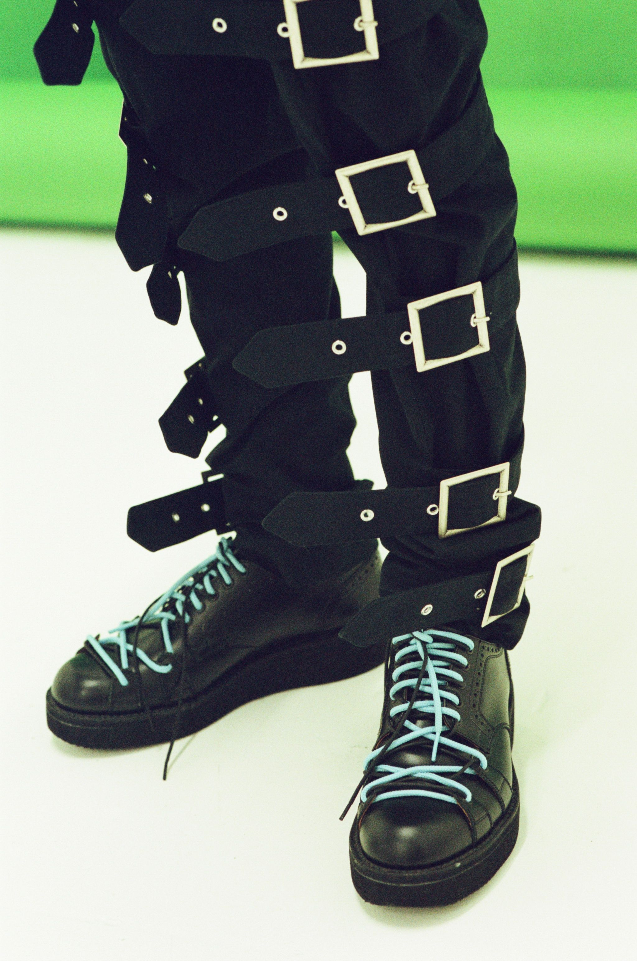 Charles Jeffrey Fall Winter 17 heavy buckle pants at HLorenzo