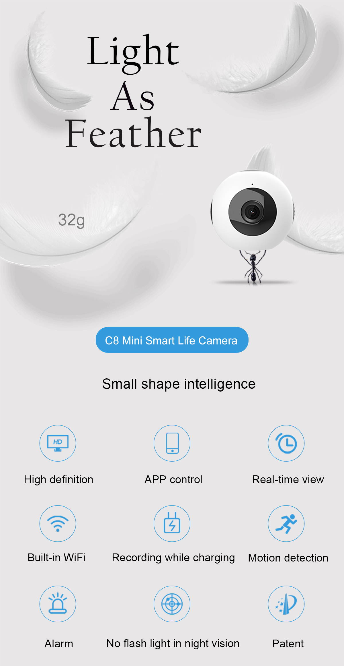 WiFi Remote Home Security Mini Ball Camera C8