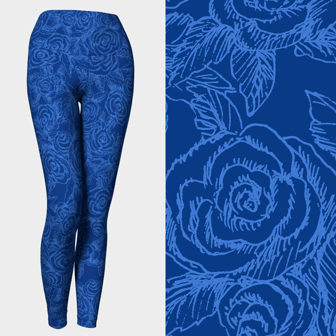 SKETCH ROSES on Denim Blues Yoga Pants by Liz Lauter