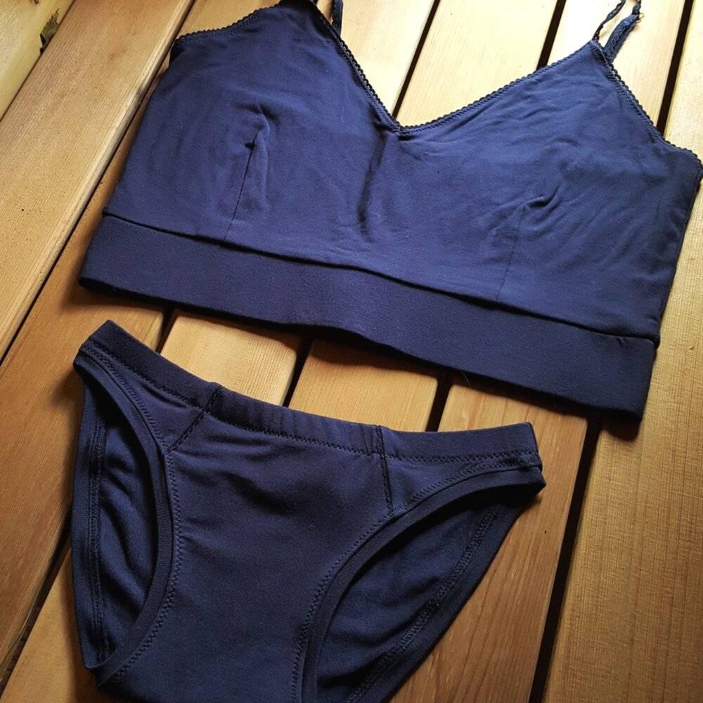 A matching set of Valkyrie underwear + bralette in navy