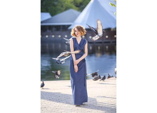 Платье летнее синее длинное на запах