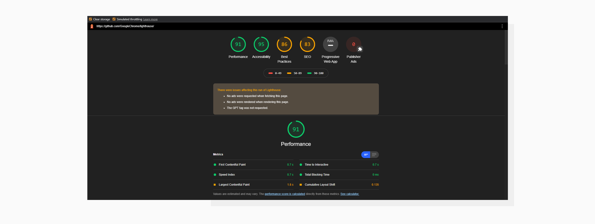 Google Lighthouse Report in Google Chrome