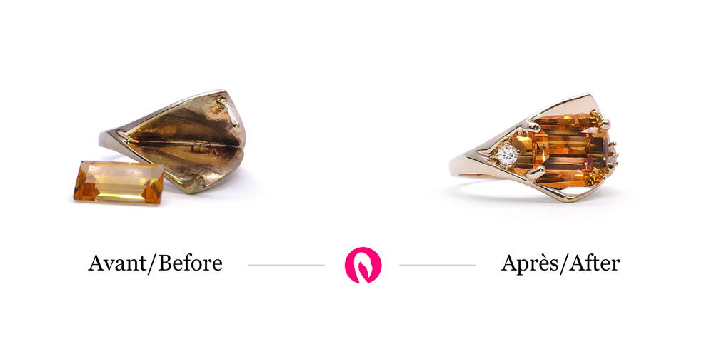 Transformation of a ring and addition of a citrine as the main stone with a small diamond.